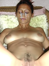 Lovely shaved MILF with giant jugs got sprayed with sperm