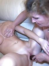 Sapphic granny loves threesomes